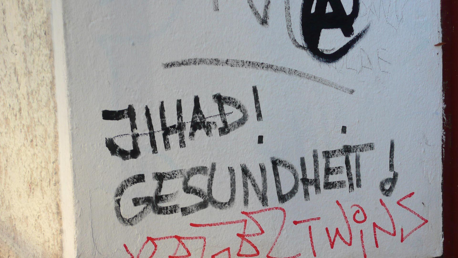 Graffiti, Street, Urban, Botschaft, Berlin, Neukölln, Jihad